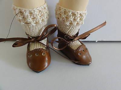 Chaussures En Cuir Pour Poupee Bleuette 4cm Nouveau Modèle julie À Trous