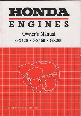 1993 HONDA ENGINES GX120/160/200 OWNERS MANUAL