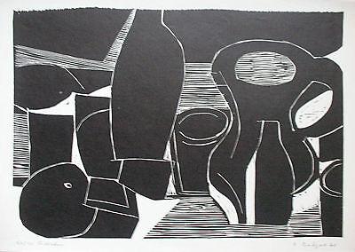 DIETHER RITZERT, Linolschnitt 1970, Stilleben, s+n