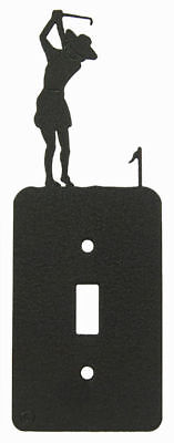 Female Golf Black Metal Single Light Switch Plate Cover