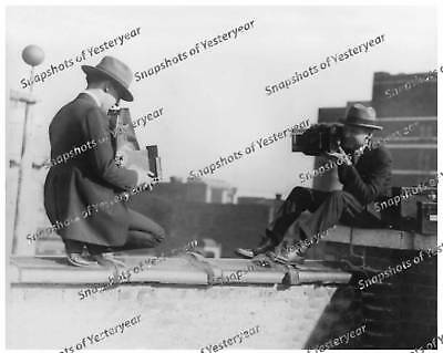 Vintage photo-Photographers on Top of Building-8x10 in.