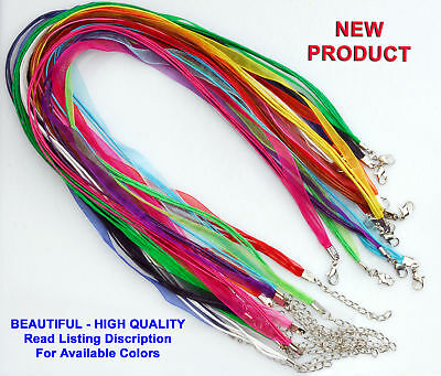 20 Qty - Organza Ribbon Necklace 18-20 Inch Cord Clasp Jewelry Pick Your Colors