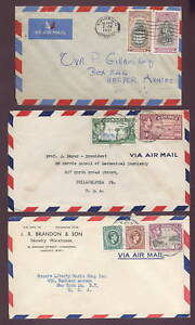 JAMAICA-1942-54-KG6th-AIRMAIL-to-CANADA-USA-6-COVERS
