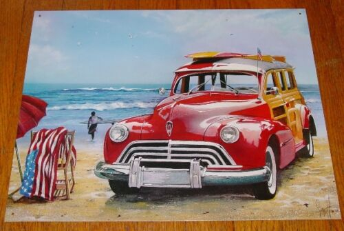 SURFING USA Red Woody Beach Surfboards Waves Beach Chair Flag Surfer Sign Decor