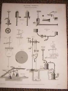 1816 Géorgien Imprimé Machines Pour Raising Eau