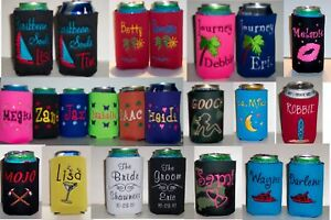 Image is loading Designs-your-own-PERSONALIZED-EMBROIDERED-Koozie-Can-Cover-