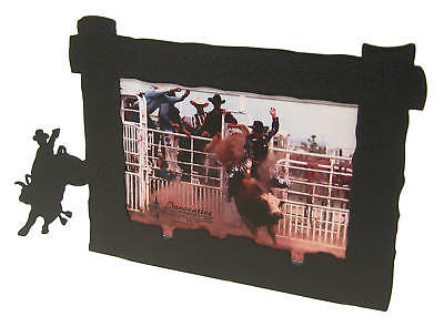 Bull Riding 4x6h Black Metal Picture Frame