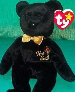 TY-Beanie-Baby-Babies-w-Mint-Tag-New-THE-END-Black-BEAR