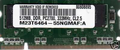 512mb Hp/compaq Presario 2500 Series Ddr Laptop/notebook Ram Memory