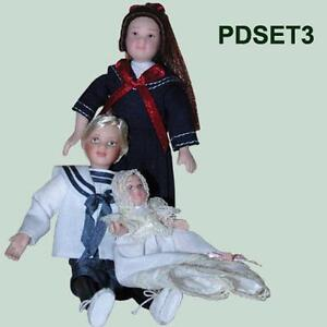 MINIATURE PORCELAIN DOLLS-SETX 3 Boy,Girl,Baby
