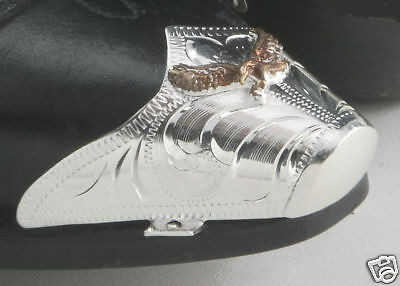 New! Western Cowboy Boot Tips Rand - Silver Eagle Toe Tips
