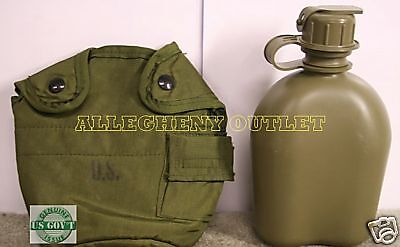 1 Quart Canteen with OD Cover and Alice Clips - Genuine US Military Surplus 1 QT