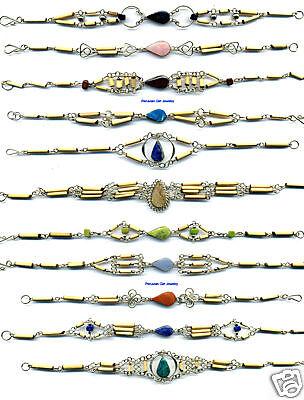 20 Bamboo Bracelets Peruvian Natural Stone Jewelry Lot
