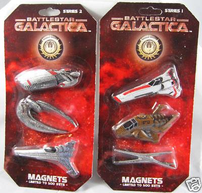 BATTLESTAR GALACTICA Magnet Sets Viper, Raptor, Cylon! 2 sets! Series 1 and 2!
