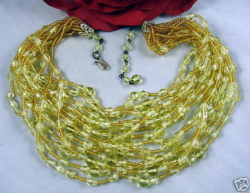 15 Strand Golden Glass Beaded Necklace CAT RESCUE