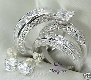 His-Her-Matching-Engagement-Wedding-Ring-Set-Sz-8