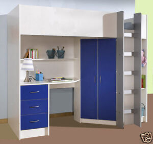 CALDER LOFT HIGH SLEEPER CABIN BED DESK WARDROBE DRAWERS NEW R227 WHITE AND BLUE
