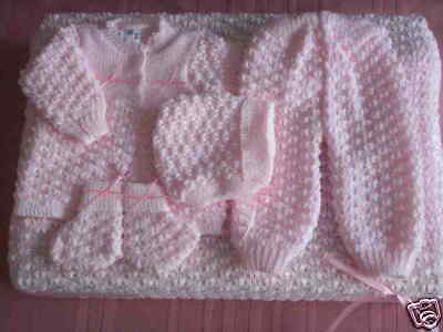 6 Pc Crochet Baby Set Blanket Pants Sweater Hat Booties