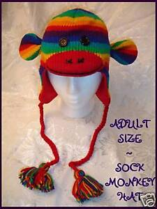NWT-deLux-RAINBOW-SOCK-MONKEY-HAT-knit-LINED-costume-ADULT-fruit-stripe-toque