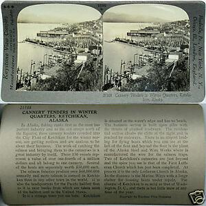 Keystone-Stereoview-of-CANNERY-TENDERS-Ketchikan-ALASKA-From-600-1200-Card-Set