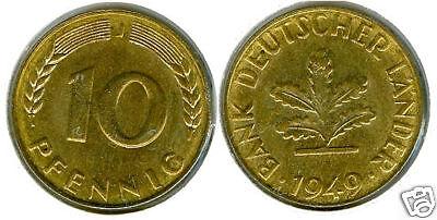 Bank deutscher Länder  10 Pfennig 1949 J  fast stempelglanz bis stempelglanz