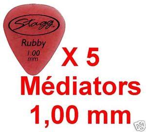 5 Médiators Taille 1,00 mm Rouge Ruby Standart