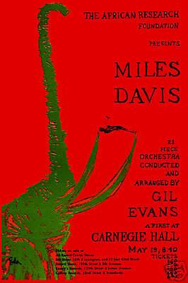 Jazz Master: Miles Davis at Carnegie Hall Concert Poster Circa 1963