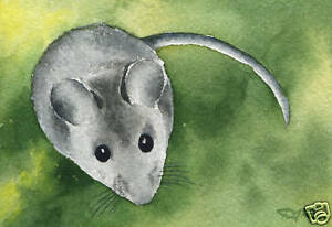 MOUSE-Painting-ACEO-Miniature-Art-Print-on-W-C-Paper-Signed-by-Artist-DJR