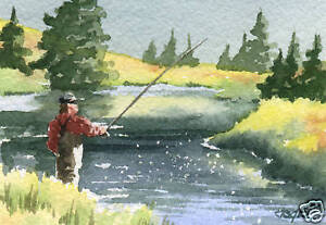 Fly-Fishing-THE-HATCH-IS-ON-ACEO-Miniature-Art-Print-Signed-by-Artist-DJR