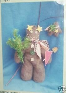 "Primitive Gingerbread boy bear pattern 13"" toy & pin"