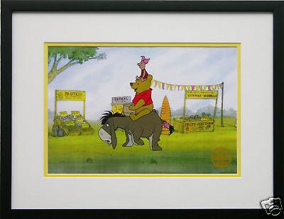 Disney Framed Animation Cel Winnie The Pooh Piglet gift free backround