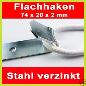 10x Flachhaken 74x20mm vezinkt Expanderseil Planenhaken