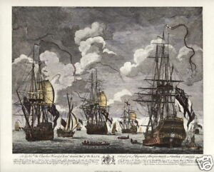 BATTLE-of-CAPE-FINISTERRE-1747-Maritime-Naval-Battle-Art-Prints-Set-of-Four