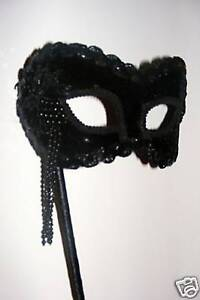 VENETIAN MASQUERADE BLACK VELVET BEADED STICK MASK NEW - QUICK POSTING
