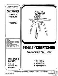 sears radial arm saw manual