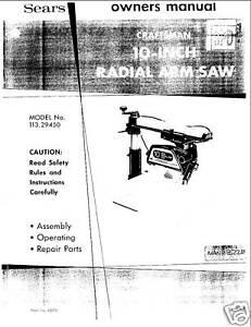 craftsman 10 radial arm saw manual pdf