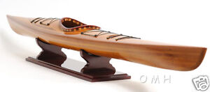 Wooden-Cedar-Strip-Kayak-41-034-Display-Canoe-Model-Built-Boat-New