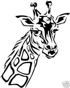 Giraffe Head Face sticker graphic decal, car, window, truck.