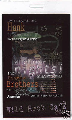 HANK WILLIAMS JR. & DOOBIE BROTHERS, GRAND FUNK R.R. - LAMINATED BACKSTAGE PASS