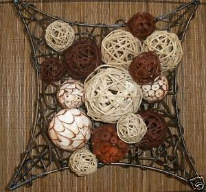 Bali Home Decor Cane Rattan Wicker Scented Deco Balls