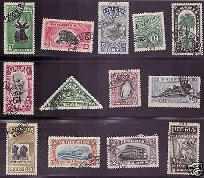 Liberia # 163-75 Complete Set of 1918 Fauna
