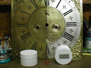 Longcase-Grandfather-CLOCK-DIAL-Face-SILVERING-silver