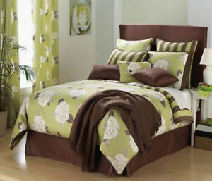 Key Lime Green Amp Brown Large Floral Comforter Set
