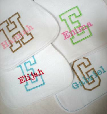 Handmade Burp Cloth Personalized With Name And Initial
