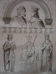 Gravure PEPIN Le Bref et BERTRADE - France - Période: XIXme et avant - France