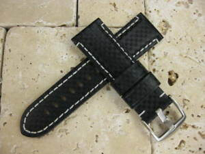 24mm-XL-CARBON-FIBER-Black-Leather-Band-Extra-Large-Watch-Strap-Fit-PANERAI
