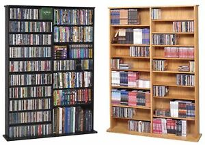 1000-CD-408-DVD-Oak-Veneer-CD-DVD-Storage-Wall-Rack-NEW