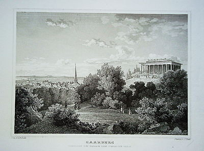 Hamburg Harburg schwarzer Berg   Stahlstich 1840