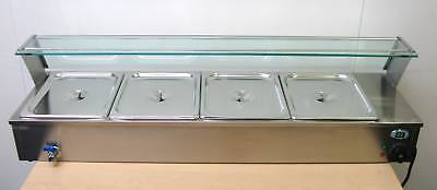 NEW ACE 4 PAN WET WELL BAIN MARIE SERVERY HOT FOOD DISPLAY GLASS TOP