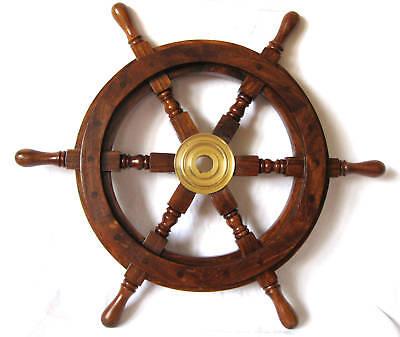Deko Steuerrad aus Holz 30cm Durchmesser mit Messingnabe